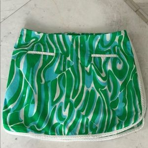 Lilly Pulitzer Green Blue and White Skort Size 00